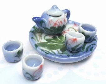 Miniature Tea Set,Miniature Chinese Tea Set,Miniature Drink,Dollhouse Tea set, Miniature Tea Pot and 4 cup,Miniature Food,Gifts idea