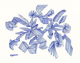 Crystal, Flying Crystal, Crystal Abstract, Ultramarine Flying Crystal, Original Abstract, Watercolor, Unframed