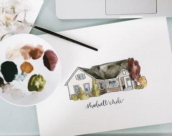 Custom House Watercolour Portrait // watercolor painting, family gift, house painting, home portrait