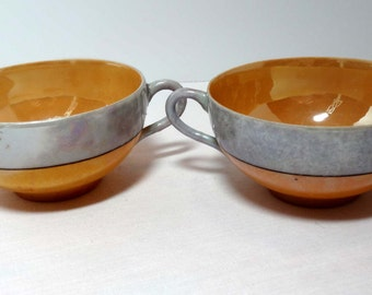Two Tea Cups Tan and Gray Home and Garden Kitchen and Dining Tableware Drinkware Coffee and Tea Cups