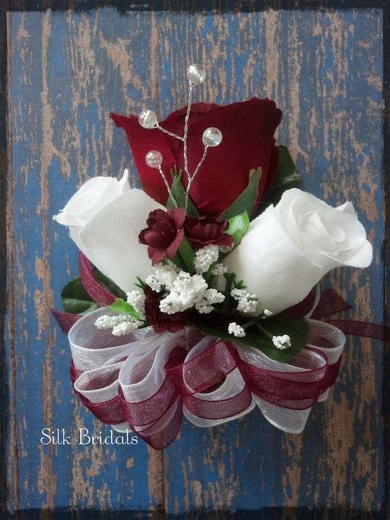 Burgundy white roses pin on corsage wedding bridal flowers mightylinksfo