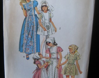 Vintage Simplicity Pattern #6242, Girls Dress Or Jumper Pattern With Scarf, Size 8, Uncut Pattern, Copyright 1974, Vintage Sewing Pattern