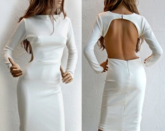 Open Back with cut-out details off-white midi dress - #95007