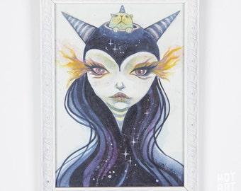 Cosmic Ambassador - mini art, watercolor painting, small original, framed original, original art, one of a kind, art by phresha