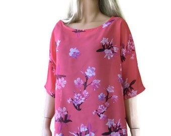 summer special-Coral floral chiffon summer top-L-Loose fitting-Spring summer collection-Size medium ,only one available