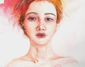 Sun Girl / Original Painting. Watercolor, Acrylic on Paper / 42H × 29.7W cm