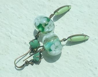 Earrings white flowers and green shades