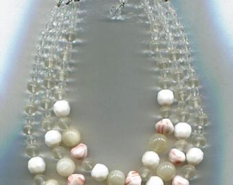 3 Strands Orange, White & Crystal, Necklace, WEST GERMANY