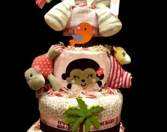 Jungle Jill 3 Diaper Cake