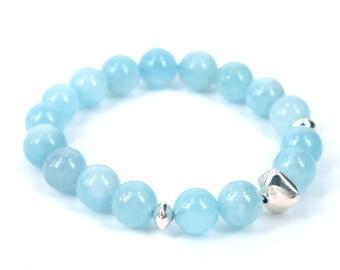 Aquamarine Bracelet . stacking stretch beaded bracelet silver blue . courage, calming, soothing stone