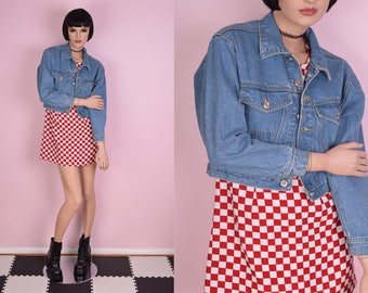 90s Cropped Denim Jacket/ Small/ 1990s