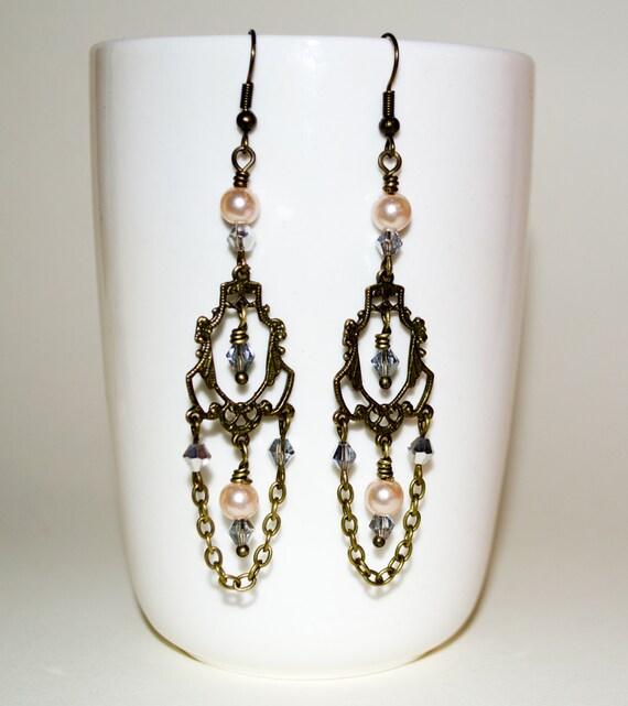 Chandelier Earrings, Chain Loop Earrings, Long Boho Drop Earrings, Pearl Dangle Earrings, Bohemian Jewelry, Pearl Earrings, Crystal Earrings