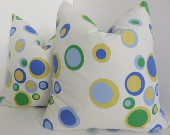 2 Pillow covers,Geometric Pillow, Set Pillow Covers, Blue Pillow Covers,Yellow Pillows,Circles Pillow Covers, Multicolor Pillow
