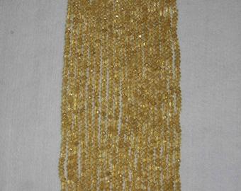 Citrine, Citrine Rondelle, Faceted Rondelle, Grade A+, Natural Stone, Semi Precious, Gold Color Bead, Full Strand, 4-5 mm, AdrianasBeads