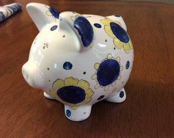 Piggy bank hand painted china, Pig bank, Bank hand painted with blue and yellow flower, Pig bank with flowers