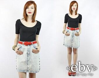 Acid Wash Skirt Acid Wash Denim Skirt Jean Skirt Jean Mini Skirt Acid Wash Jean Skirt 80s Skirt Vintage 80s Acid Wash Denim Mini Skirt S M
