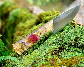 Custom Botanical Pocket Knife / Made to Order / Hand Forged Knife / 11th anniversary / Bohemian Flower Knife / Real Plants  Colorful Knife