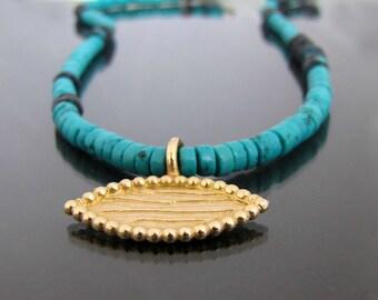 18k pendant, turquoise necklace, iolite necklace, 18k gold pendant, real gold necklace, boho necklace, ancient jewelry, ethnic necklace
