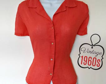 Vintage Sheer Top Coral 60s Pink Button Up Blouse Size Medium