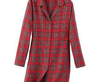 Ladies Red Tartan Plaid Flannel Sleep Shirt