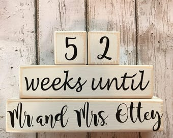 Weeks Until Wedding Countdown. Countdown to Wedding. Countdown Mr. and Mrs. Personalized with Last Name Countdown Blocks. Distressed Blocks.