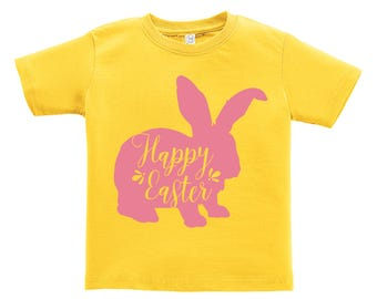 Happy Easter Pink Bunny Design. Easter outfit. / Boys / Girls / Infant / Toddler / Youth sizes