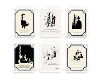 literary gift, literary quotes, gift ideas for book lovers, hemingway, milan kundera, set of 6 cards, literary cards, book lover gift