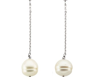 "14K White Gold Genuine Freshwater White Circlé Pearl Dangle Earrings - 9 - 10mm Round Pearls - 2"" Drop Dangle Earrings - Wedding Jewelry"
