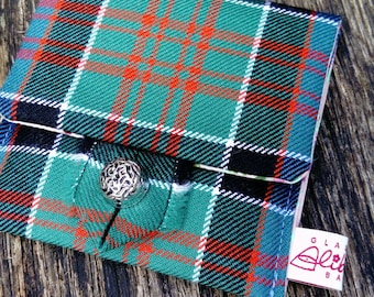 MacDonald Tartan Coin Purse /Stunning Wool Tartan Purse / Wool Tartan / Vintage Button / Gift for her / Best friend gift / Made in Scotland