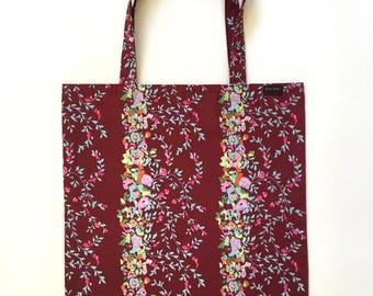 Tote Bag Retro Floral Maroon Fuchsia Pink Colorful