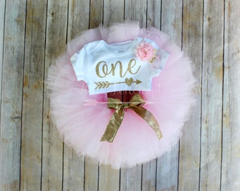 Gold first birthday bodysuit and Pink Tutu, Glitter gold One romper, Girls first birthday outfit, Cake smash tutu, Gold Birthday Outfit