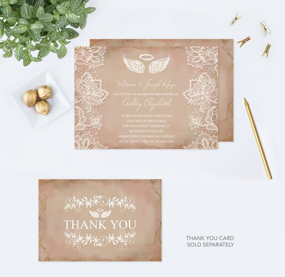 Angel wings invitation baptism invitation baby shower like this item solutioingenieria Image collections