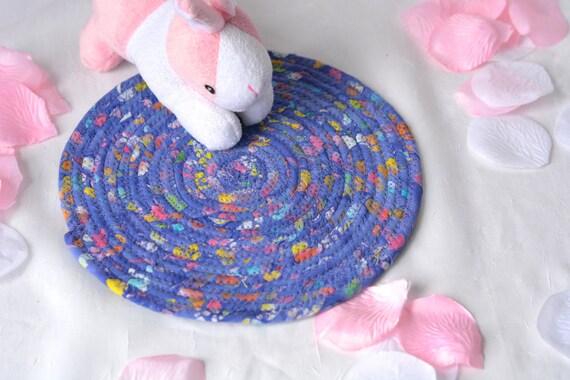 """Lavender Batik Trivet, 8"""" Handmade Hot Pad, Desk Coaster, Violet Potholder, Violet Candle Holder Quilted Table Mat, 8"""" Mouse Pad"""