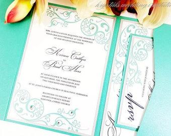The Catlyn Suite - Rhinestone Flourish Pocketfold Wedding Invitation Suite - SAMPLE