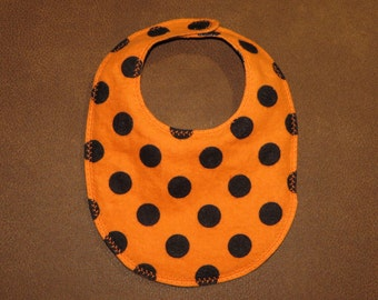 SALE Newborn Infant Bib Orange with Black Dots  Snaps Lined 0 to 6 months. Cotton and flannel. Newborn bibs Infant Flannel bib Polka dots