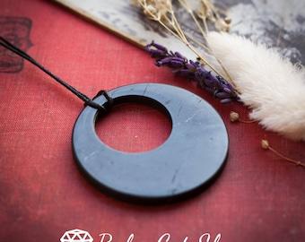 Shungite Pendant Hoop | EMF protection, shungite necklace, jewelry, energy crystal, root chakra, Reiki, healing crystal