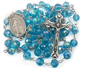 Catholic Rosary Light Blue Crystal Beads Necklace Turquoise Rosary With Miraculous Medal & Cross