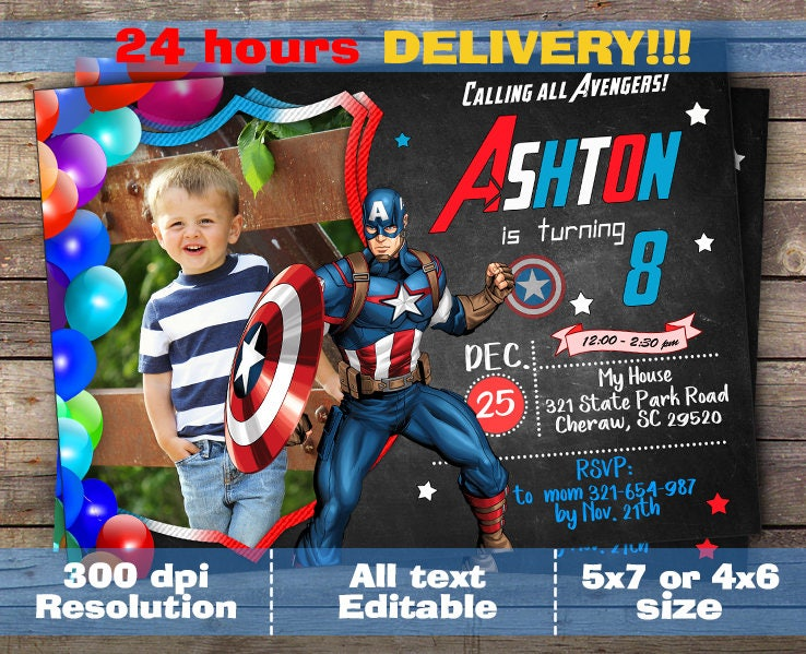 Captain America Invitation Captain America Birthday Captain