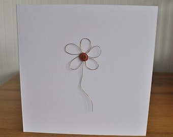 Wire flower greeting card - birthday - thank you - get well soon - wedding - anniversary - handmade - invitation - Mother's Day
