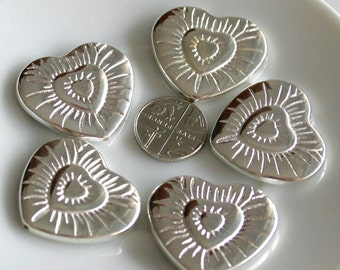 5 Large Acrylic Silver Bead Hearts - 35mm - Great Focal Bead