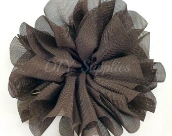 Brown ballerina flower - 3.5 inch fabric flower - Large double ruffle flower - Wholesale flowers - Twirl flower for headbands & hair clip
