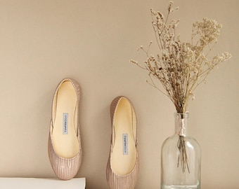 The Metallic Ballet Flats in Golden Stripes | Pointe Style Shoes | Classic Model | Standard Width | Golden Stripes | Ready to Ship