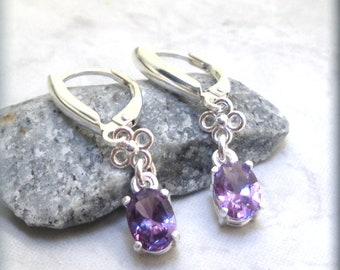 Oval Alexandrite Earrings, Leverback Earrings, 925 Sterling Silver, Purple Gemstone Earrings, June Birthstone, June Birthday Gift for Her