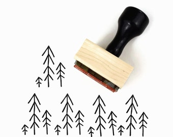 Tiny Forest Stamp | Christmas Holiday Nature Simple Pine Trees Rubber Stamp by Creatiate