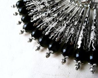 Black Teardrop Earrings, Long Black Earrings, Victorian Earrings, Czech Glass Earrings, Silver Filigree Cone, Black and Silver Jewelry