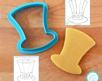 Uncle Sam's Tall Hat Cookie Cutter - St. Patrick's, New Year's, Snowman's, Magician's Hat - **Guideline Sketch To Print Below**