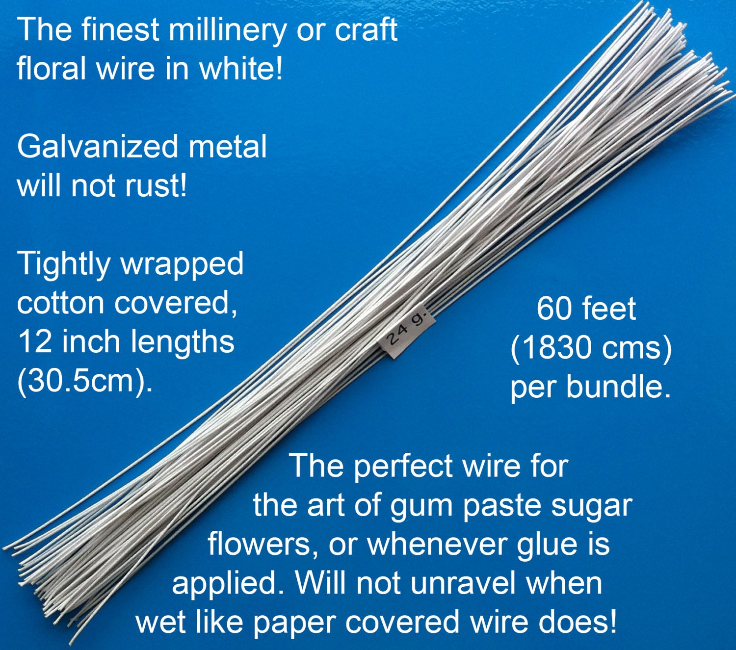 24 Gauge White Cotton Covered Floral Wire - 60 feet per bundle (18.3 ...