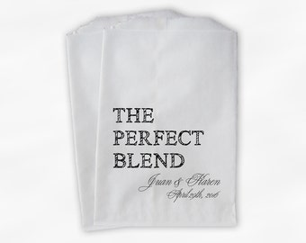 The Perfect Blend Coffee Favor Bags - Black and White Personalized Wedding Favor Bags with Names and Date - Custom Paper Bags (0219)