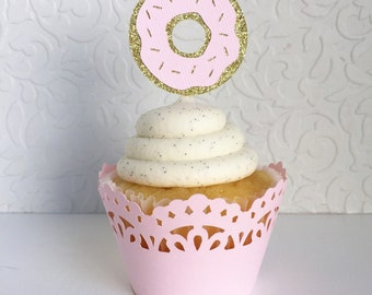 Donut Cupcake Toppers (set of 12) Donut party toppers,