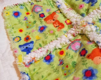 Rag Quilt, Security Blanket, Pet Pad, Baby, Toddler, Foxes, Turtles, Green, Blue, Orange, Yellow, Pink Flowers
